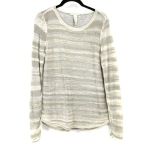 White + Warren Gray White Stripe Sweater